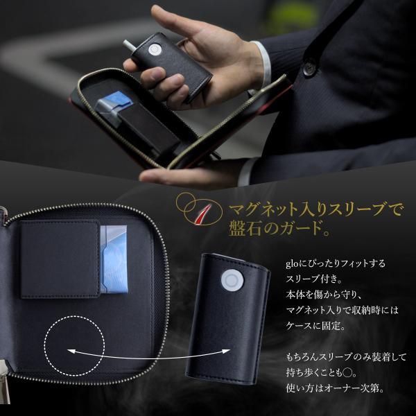 glo ケース グロー カーボンレザー 財布型  ヒーター ネオスティック クリーニングブラシ 収納可能 マグネット付スリーブ ストラップ付 送料無料|remake|03