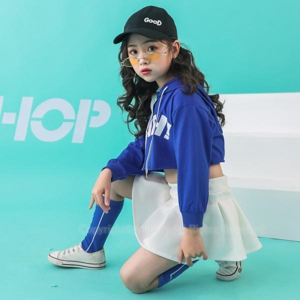 ダンス パーカー フリーツスカート キッズ ダンス衣装 ヒップホップ ジャズダンス チア チアガール HIPHOP 女の子 発表会 ステージ衣装 演出服 応援団 練習着|rensei|02