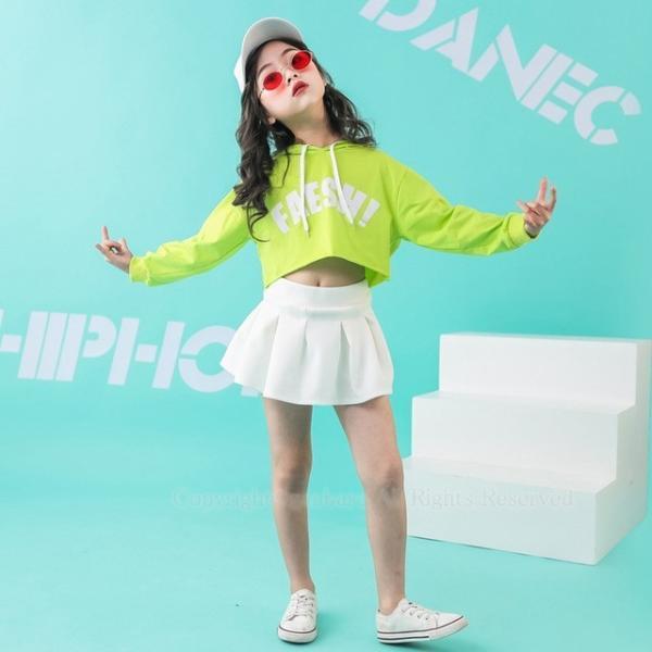 ダンス パーカー フリーツスカート キッズ ダンス衣装 ヒップホップ ジャズダンス チア チアガール HIPHOP 女の子 発表会 ステージ衣装 演出服 応援団 練習着|rensei|09