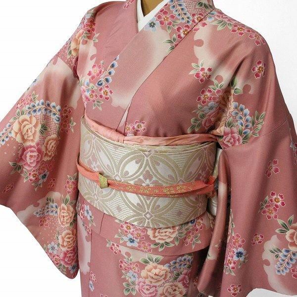 着物 レンタル 袋帯 セット Mサイズ レディース ピンク 椿 rental-kimono 02
