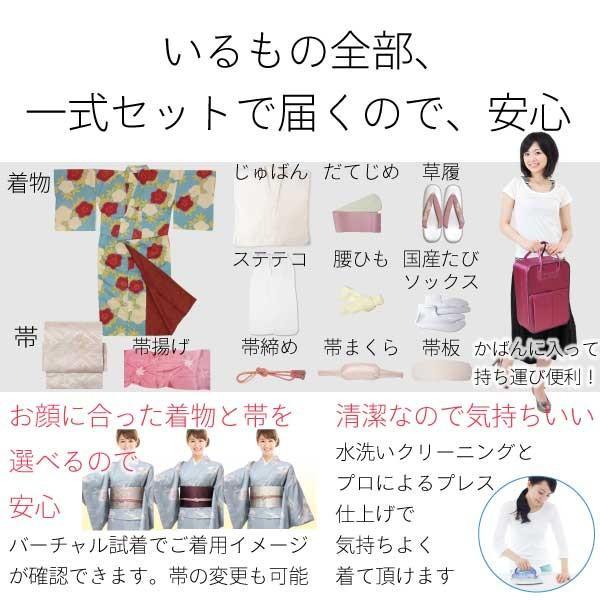 着物 レンタル 袋帯 セット Mサイズ レディース ピンク 椿 rental-kimono 06
