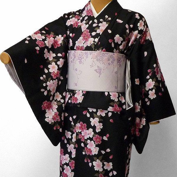 着物 レンタル セット Mサイズ レディース 黒・夜桜|rental-kimono