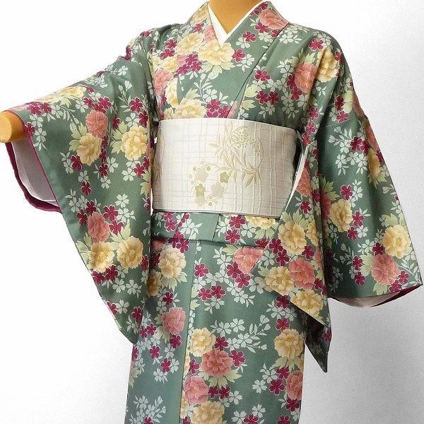 着物 レンタル セット Mサイズ レディース 緑・牡丹|rental-kimono