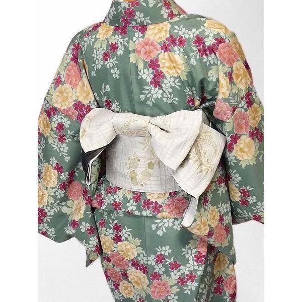 着物 レンタル セット Mサイズ レディース 緑・牡丹|rental-kimono|02