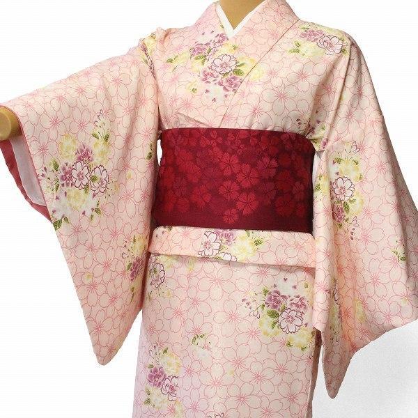 着物 レンタル セット Mサイズ レディース ピンク 桜|rental-kimono
