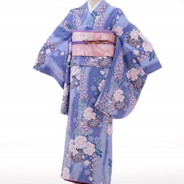 小振袖 レンタル Mサイズ 変わり結び袋帯セット 簡単 青 牡丹 藤 rental-kimono