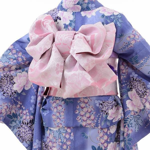 小振袖 レンタル Mサイズ 変わり結び袋帯セット 簡単 青 牡丹 藤 rental-kimono 02