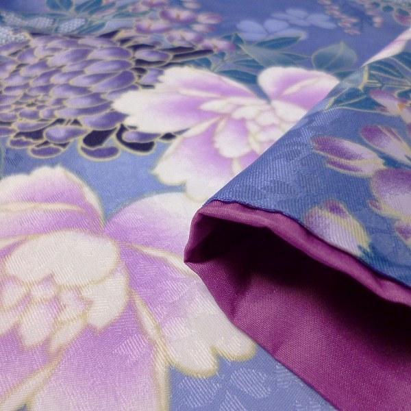 小振袖 レンタル Mサイズ 変わり結び袋帯セット 簡単 青 牡丹 藤 rental-kimono 04