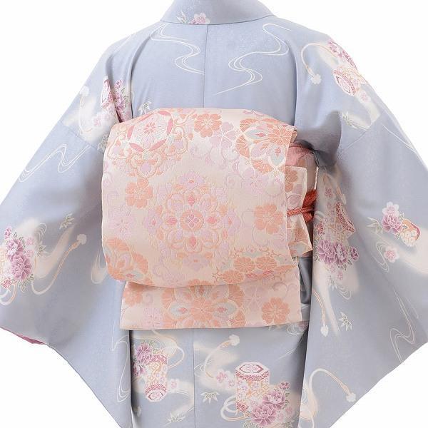 着物 レンタル Mサイズ 袋帯セット レディース 水色 貝桶文|rental-kimono|02