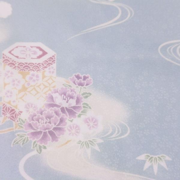着物 レンタル Mサイズ 袋帯セット レディース 水色 貝桶文|rental-kimono|03