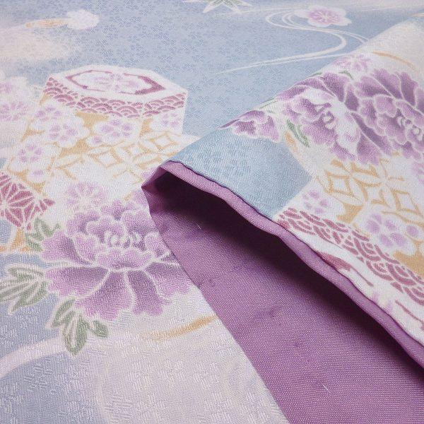 着物 レンタル Mサイズ 袋帯セット レディース 水色 貝桶文|rental-kimono|04