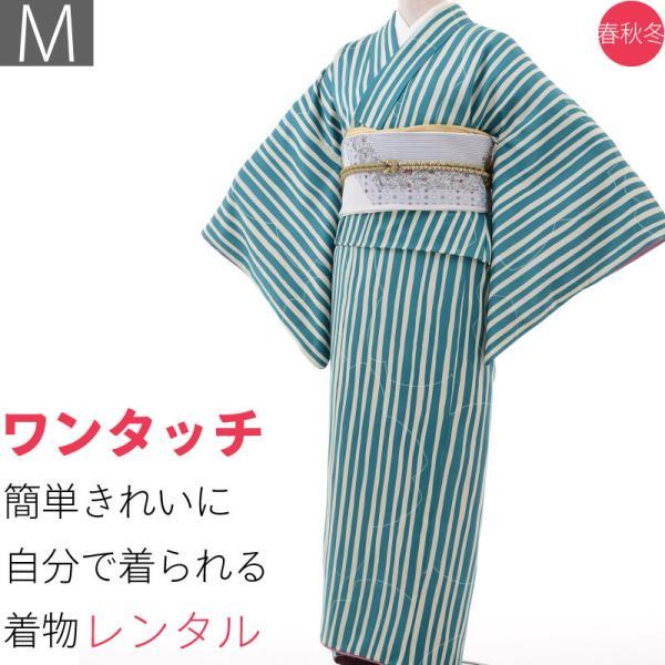 着物 レンタル Mサイズ 袋帯セット 緑・縦縞モダン ワンタッチ式|rental-kimono
