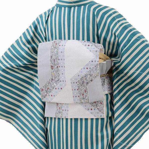 着物 レンタル Mサイズ 袋帯セット 緑・縦縞モダン ワンタッチ式|rental-kimono|02
