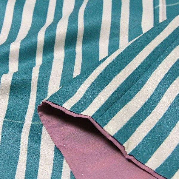 着物 レンタル Mサイズ 袋帯セット 緑・縦縞モダン ワンタッチ式|rental-kimono|04