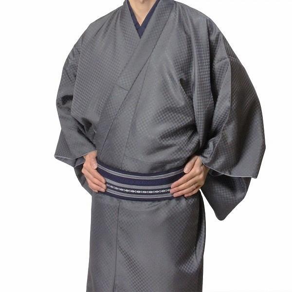男性 着物・羽織 レンタル XLサイズ メンズ グレー市松 御召風|rental-kimono|02