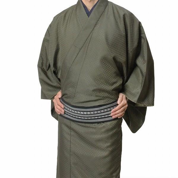 男性 着物・羽織 レンタル XLサイズ メンズ 緑利休鼠 御召風|rental-kimono|02