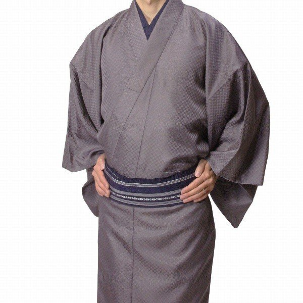 男性 着物・羽織 レンタル XLサイズ メンズ 紫 市松 御召風|rental-kimono|02