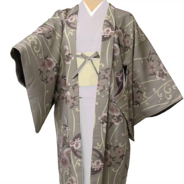 羽織 レンタル オプション レディース グレー縦流水 rental-kimono