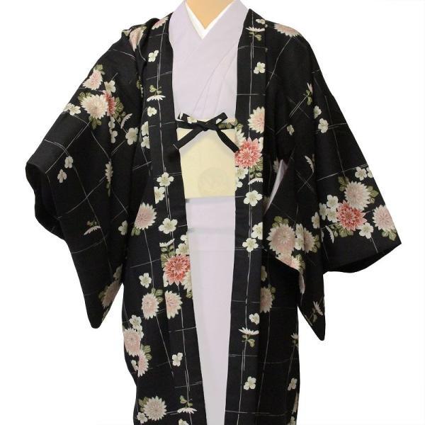 羽織 レンタル オプション レディース 黒 菊格子|rental-kimono