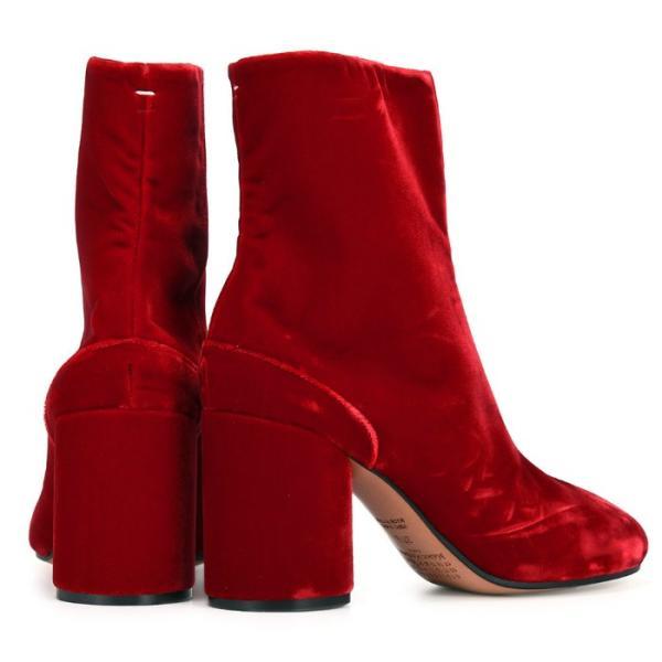 メゾン マルジェラ ベルベット アンクル ブーツ レッド ショート ブーツ 足袋 Maison Margiela Velvet Ankle Tabi Boot S39WU0099 S48433 309 レディース 靴