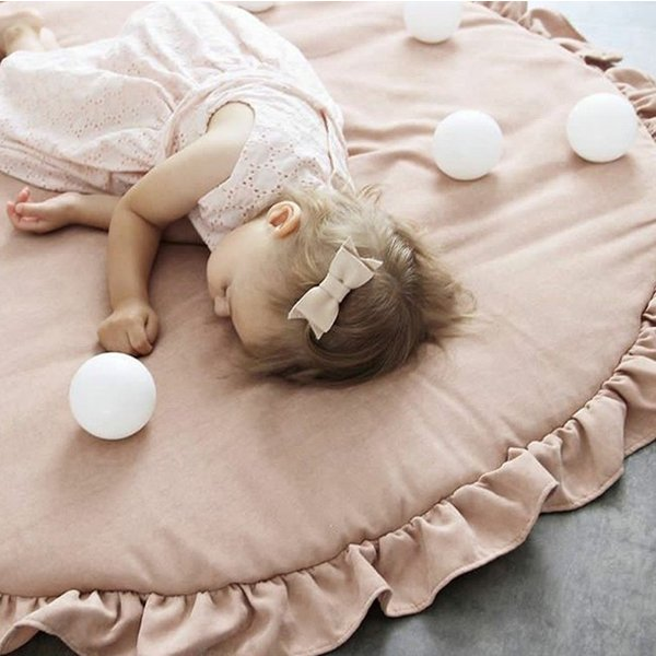 短納期 ベビーマット サニーマット フリル 無地 北欧 おしゃれ ラグ 丸型 円形 低反発 洗える オールシーズン リビング 床 赤ちゃん プレイマット resty 15
