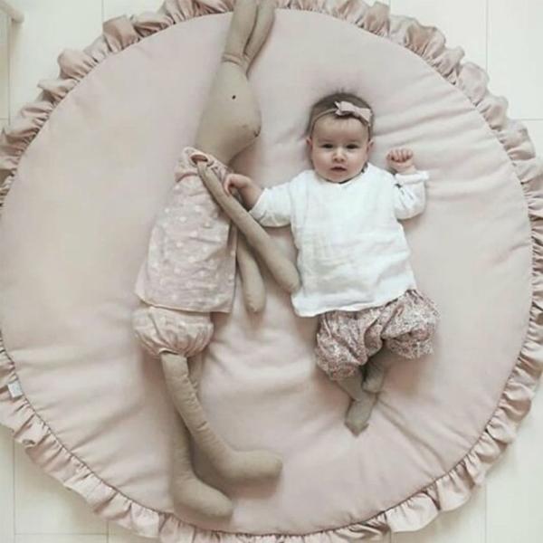 短納期 ベビーマット サニーマット フリル 無地 北欧 おしゃれ ラグ 丸型 円形 低反発 洗える オールシーズン リビング 床 赤ちゃん プレイマット resty 16