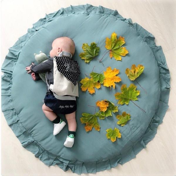 短納期 ベビーマット サニーマット フリル 無地 北欧 おしゃれ ラグ 丸型 円形 低反発 洗える オールシーズン リビング 床 赤ちゃん プレイマット resty 04