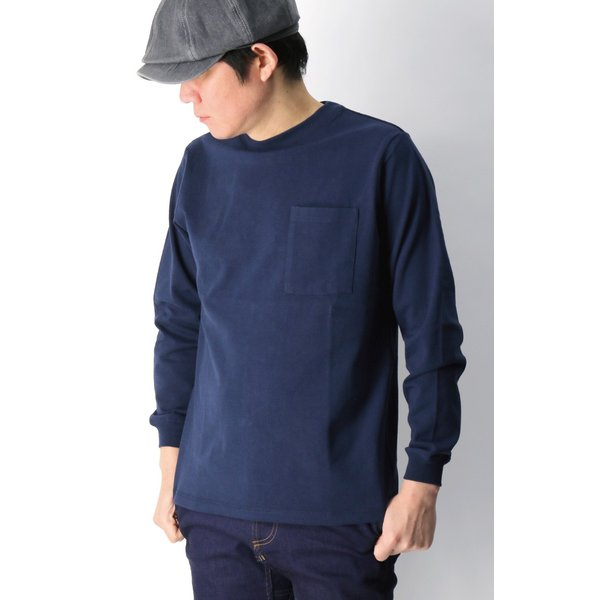 (グッドウエアー) Goodwear ロングスリーブ クルーネック ポケット Tシャツ ヘビーウエイト USAコットン カットソー メンズ レディース retom 12