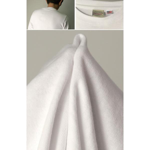 (グッドウエアー) Goodwear ロングスリーブ クルーネック ポケット Tシャツ ヘビーウエイト USAコットン カットソー メンズ レディース retom 18
