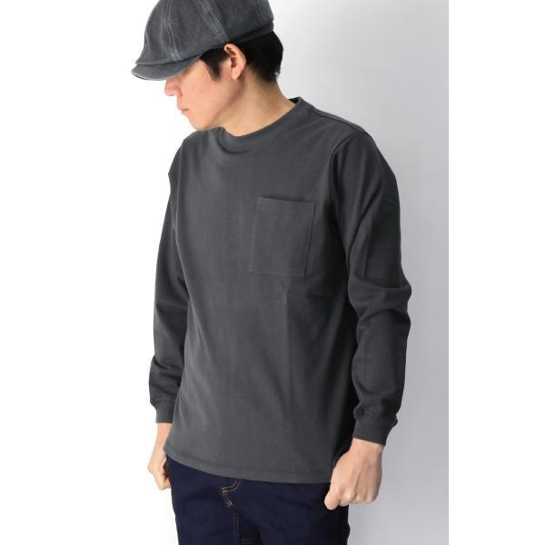 (グッドウエアー) Goodwear ロングスリーブ クルーネック ポケット Tシャツ ヘビーウエイト USAコットン カットソー メンズ レディース retom 03