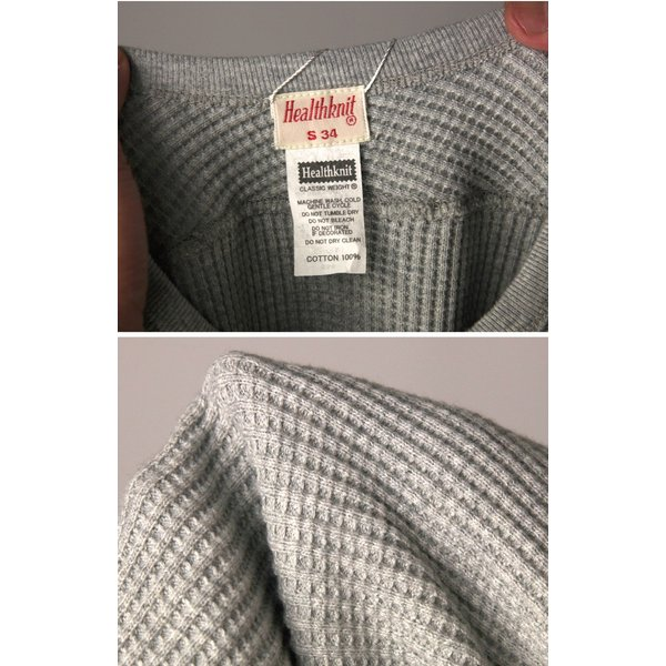 (ヘルスニット) Healthknit スーパーヘビー ワッフル ロングスリーブ クルーネック Tシャツ カットソー メンズ レディース|retom|15