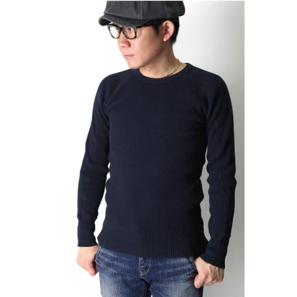 (ヘルスニット) Healthknit スーパーヘビー ワッフル ロングスリーブ クルーネック Tシャツ カットソー メンズ レディース|retom|03