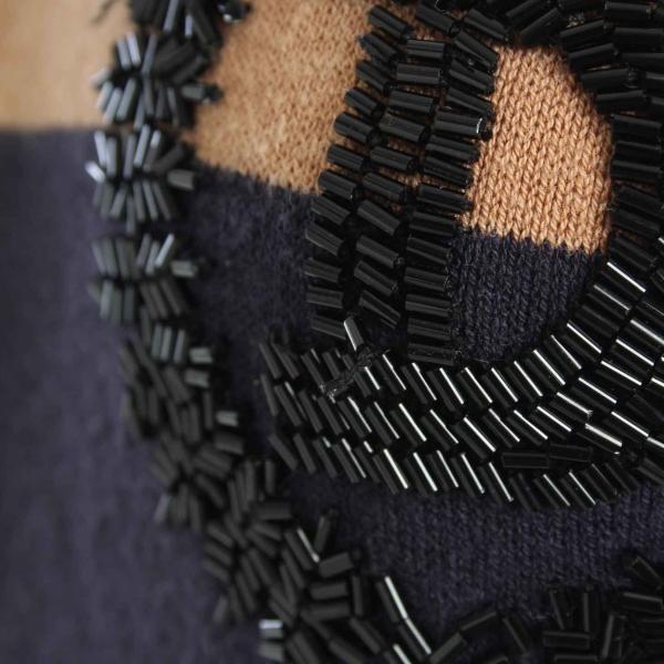 【ダブルスタンダードクロージング】DOUBLE STANDARD CLOT ロゴ ノースリーブ ニットワンピース ネイビー ライトブラウン  【中古】【正規品保証】21095|retrojp|05