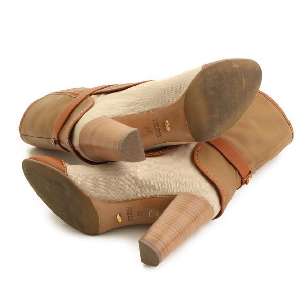 【セルジオロッシ】Sergio Rossi 2012年 レザー キャンバス ブーツ ベージュ ブラウン 37 【正規品保証】34526