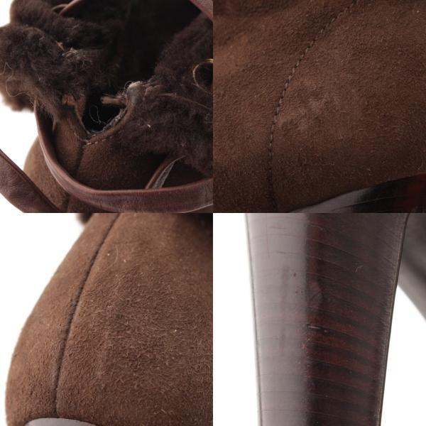 【セルジオロッシ】Sergio Rossi スエード ボア ヒール ブーツ ブラウン 36  【中古】【正規品保証】43485