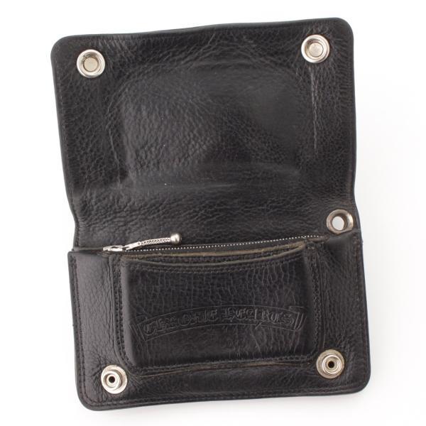 【クロムハーツ】Chrome Hearts 1ジップ クロスパッチ ウォレット 二つ折り財布 クロスボタン ブラック  【中古】【正規品保証】57314|retrojp|04