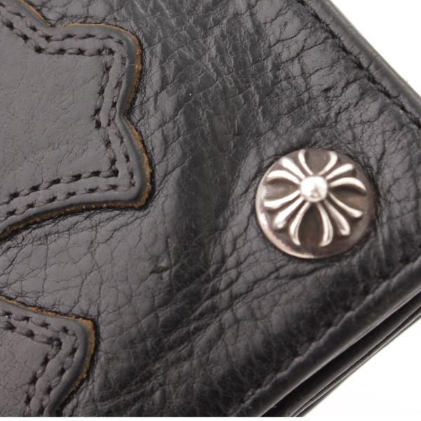 【クロムハーツ】Chrome Hearts 1ジップ クロスパッチ ウォレット 二つ折り財布 クロスボタン ブラック  【中古】【正規品保証】57314|retrojp|07