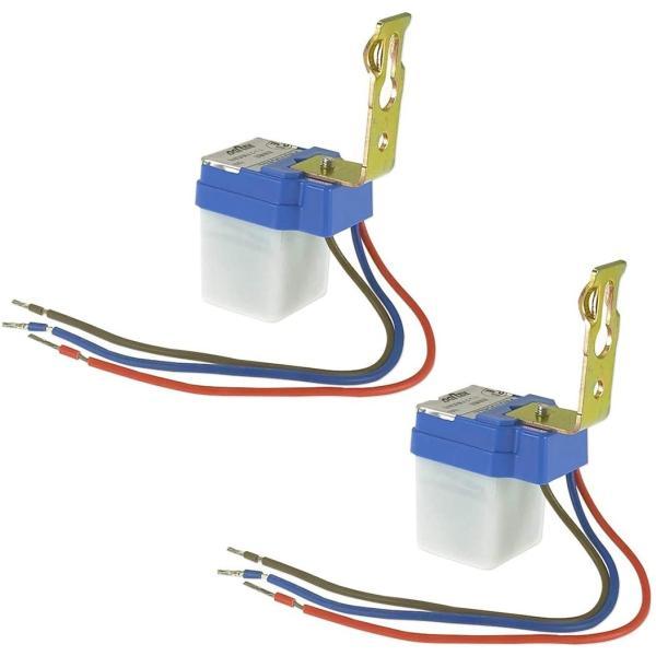 後付け 明るさセンサー スイッチユニット 照明器具用 暗くなったら自動点灯 明るくなった自動消灯 IP44 防滴 AC85-265V 50/60Hz 2個セット