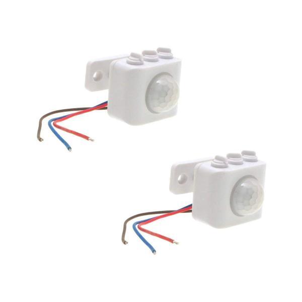 後付け 人感センサー スイッチユニット 小型タイプ 照明器具用 PIR 人感・明るさセンサー両搭載 AC100V 50/60Hz対応 100Wまで 2個セット