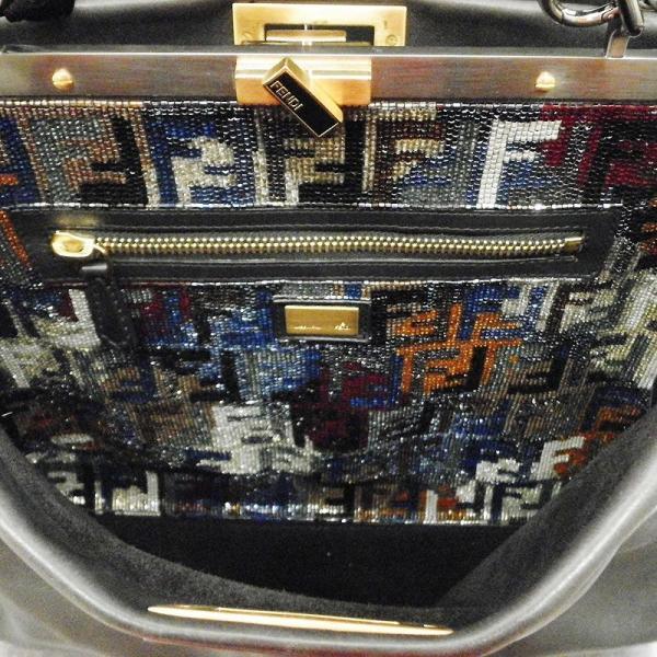 フェンディ FENDI ピーカブー ビーズ刺繍 ストラップ付 2WAYバッグ ブラック カーフ ハンドバッグ rkd