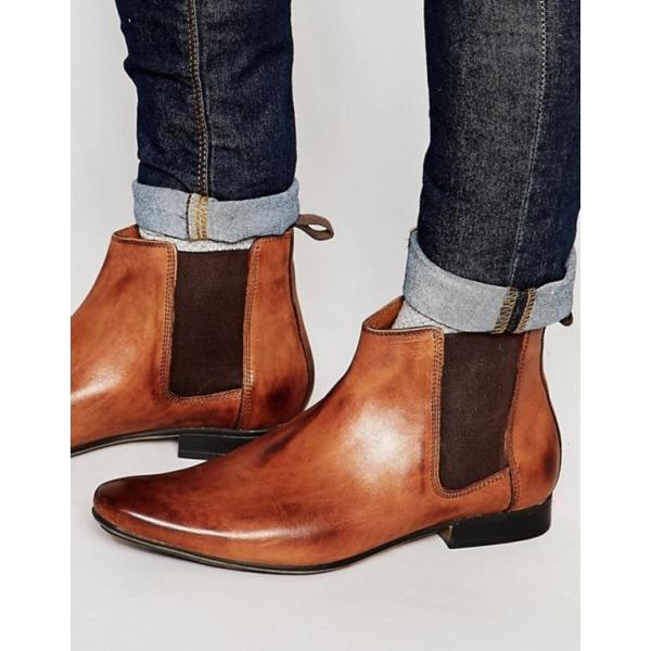フランクライト メンズ ブーツ・レインブーツ シューズ Frank Wright Chelsea Boots In Tan Leather