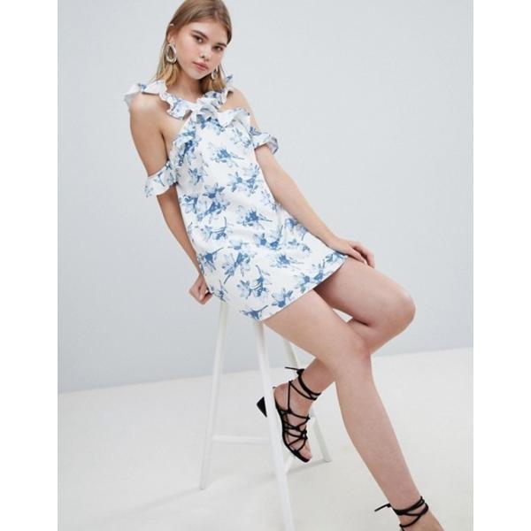 ジェイオーエー レディース ワンピース トップス J.O.A Shift Dress With Cross Cold Shoulder Ruffle Detail In Light Floral