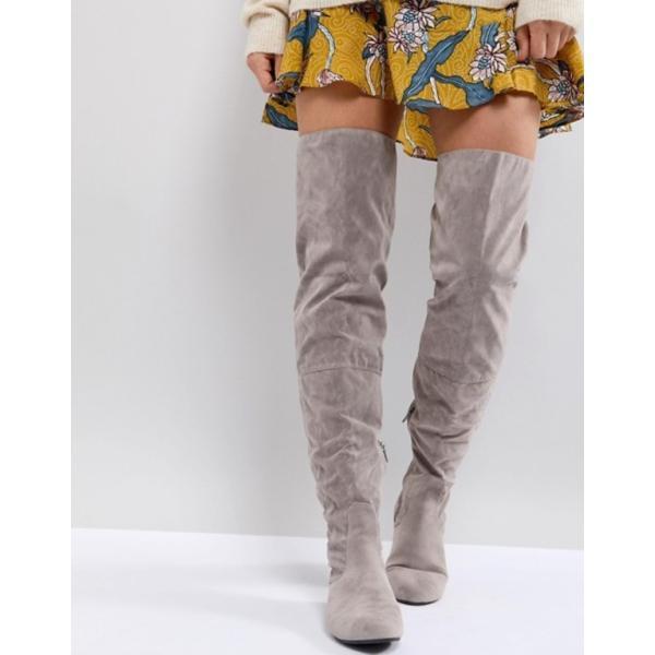 デイジーストリート レディース ブーツ・レインブーツ シューズ Daisy Street Lace Back Gray Over The Knee Boots revida