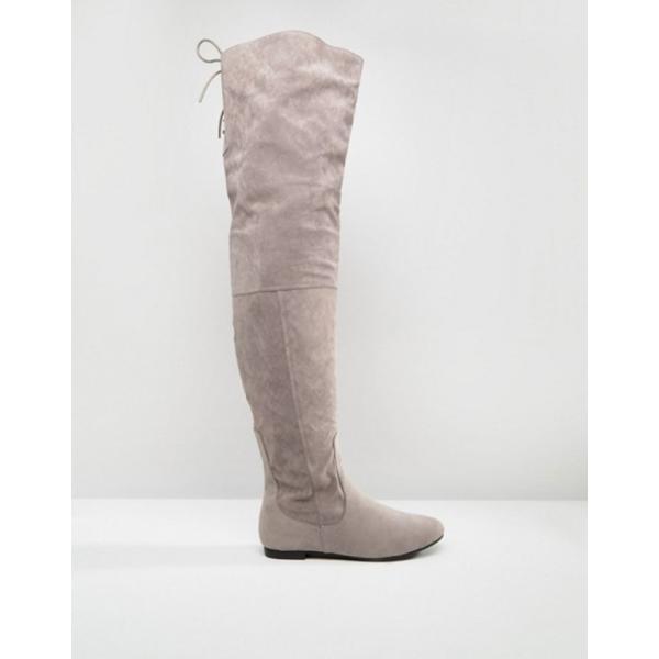 デイジーストリート レディース ブーツ・レインブーツ シューズ Daisy Street Lace Back Gray Over The Knee Boots revida 02