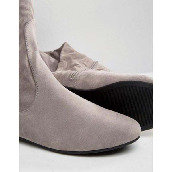 デイジーストリート レディース ブーツ・レインブーツ シューズ Daisy Street Lace Back Gray Over The Knee Boots revida 04
