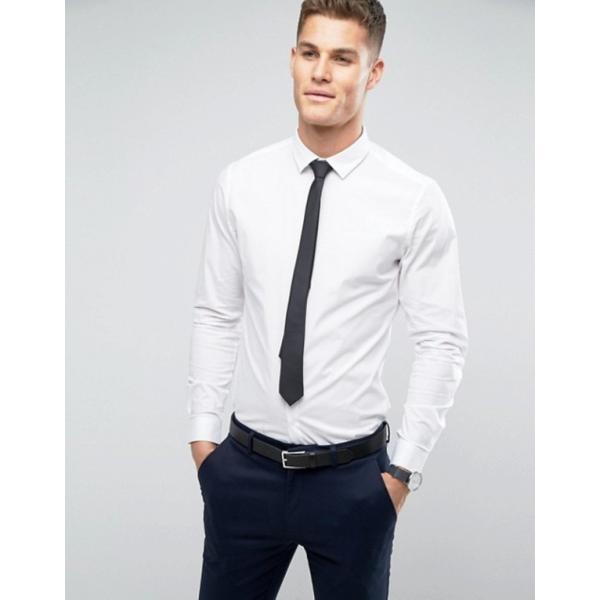 エイソス メンズ シャツ トップス ASOS Stretch Slim Shirt In White With Black Tie SAVE|revida