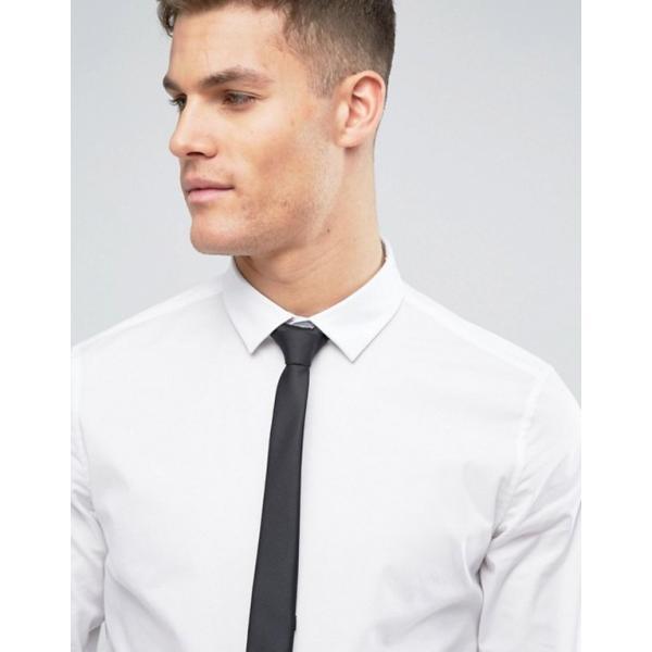 エイソス メンズ シャツ トップス ASOS Stretch Slim Shirt In White With Black Tie SAVE|revida|02