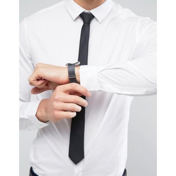 エイソス メンズ シャツ トップス ASOS Stretch Slim Shirt In White With Black Tie SAVE|revida|03