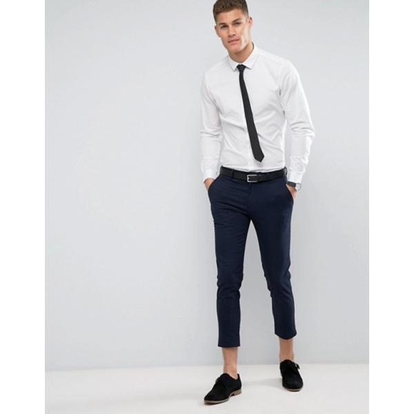 エイソス メンズ シャツ トップス ASOS Stretch Slim Shirt In White With Black Tie SAVE|revida|04