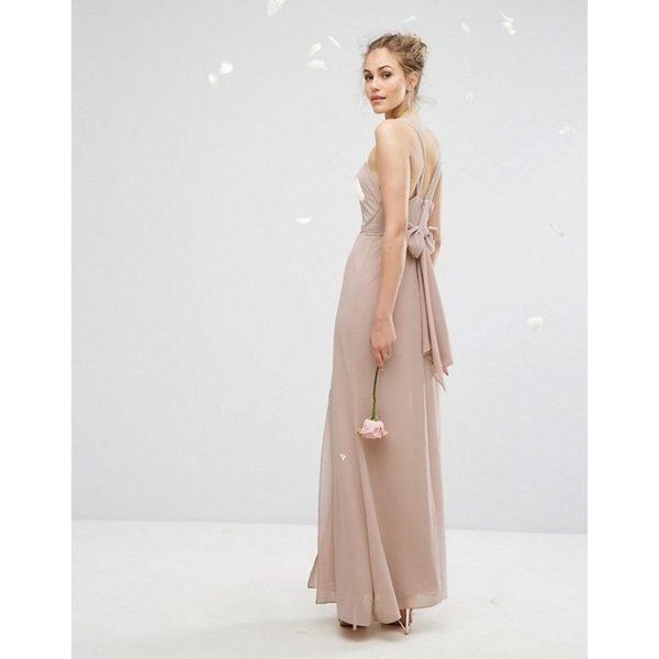 ティエフエヌシー レディース ワンピース トップス TFNC WEDDING Chiffon Maxi Dress with Tonal Embellishment and Tie Detail